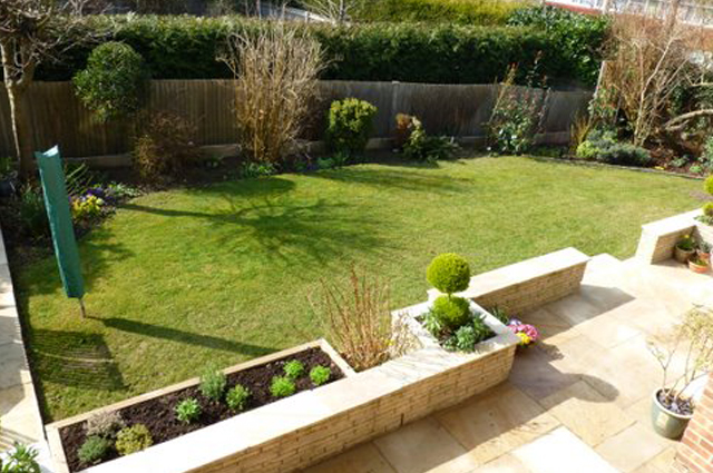 New patio and raised beds in Horsham